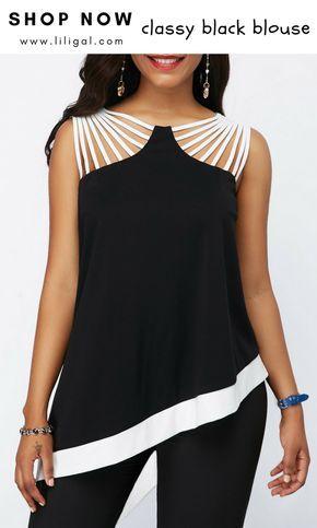 b8536c186871c4 Strappy Detail Black Asymmetric Hem Blouse  liligal  top  blouse  shirts   tshirt