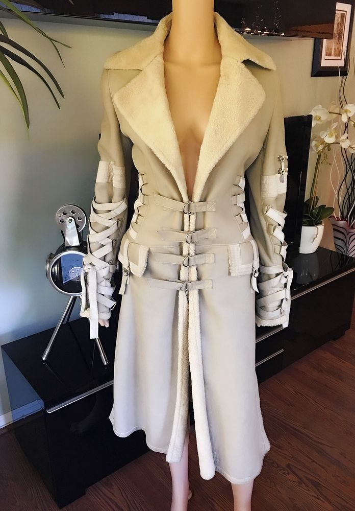 96e6d401 Vintage GIANNI VERSACE RUNWAY Shearling Jacket Coat SEXY VERY RARE ...