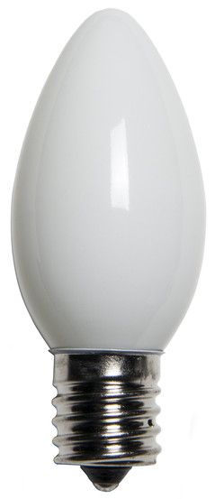 C9 White Christmas Light Bulbs, Opaque