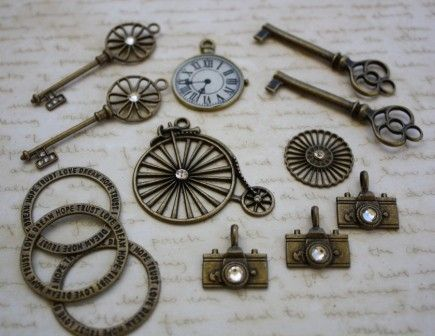 13 x Mixed Charms Antique Bronze Style - by CreativeBirdSupplies on Craftumi