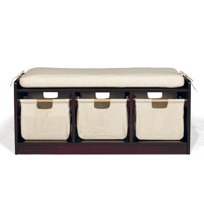 Features:  -Collection: WonkaWoo Deluxe.  Product Type: -Toy storage bench.  Frame Material: -Manufactured wood.  Fabric Material: -Canvas.  Gender: -Neutral. Finish Espresso -  Fabric Color: -Beige.
