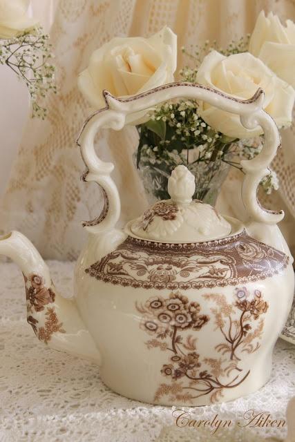 nathalie: Teas Time, Teas Cups, Teas Pots, Afternoon Teas, Brown Transferwar, Aiken House, Teas Sets, Teas Parties, Romantic Afternoon
