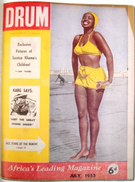 Dolly Rathebe (1928–2004) was a South African musician and actress.  Drum cover July 1955 photo Bob Gosani