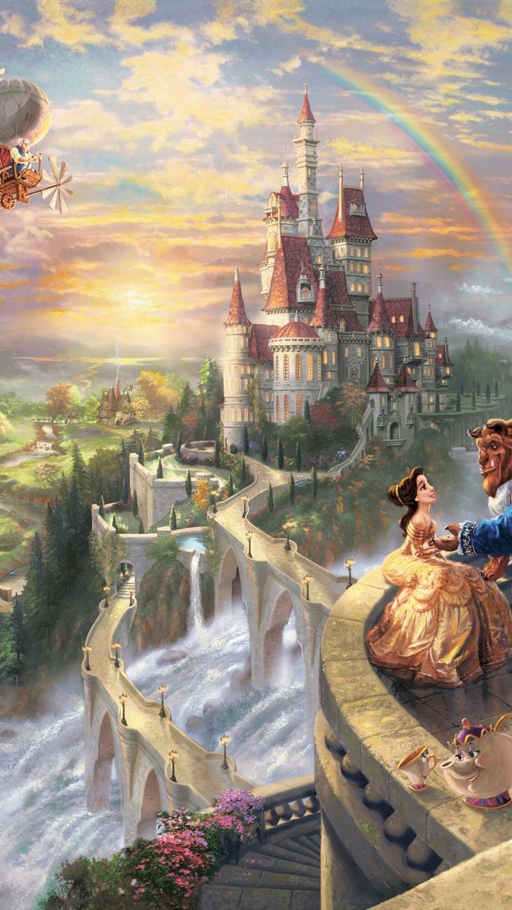 Marburg Tapeten Beauty And The Beast : Thomas Kinkade Beauty and the Beast Disney