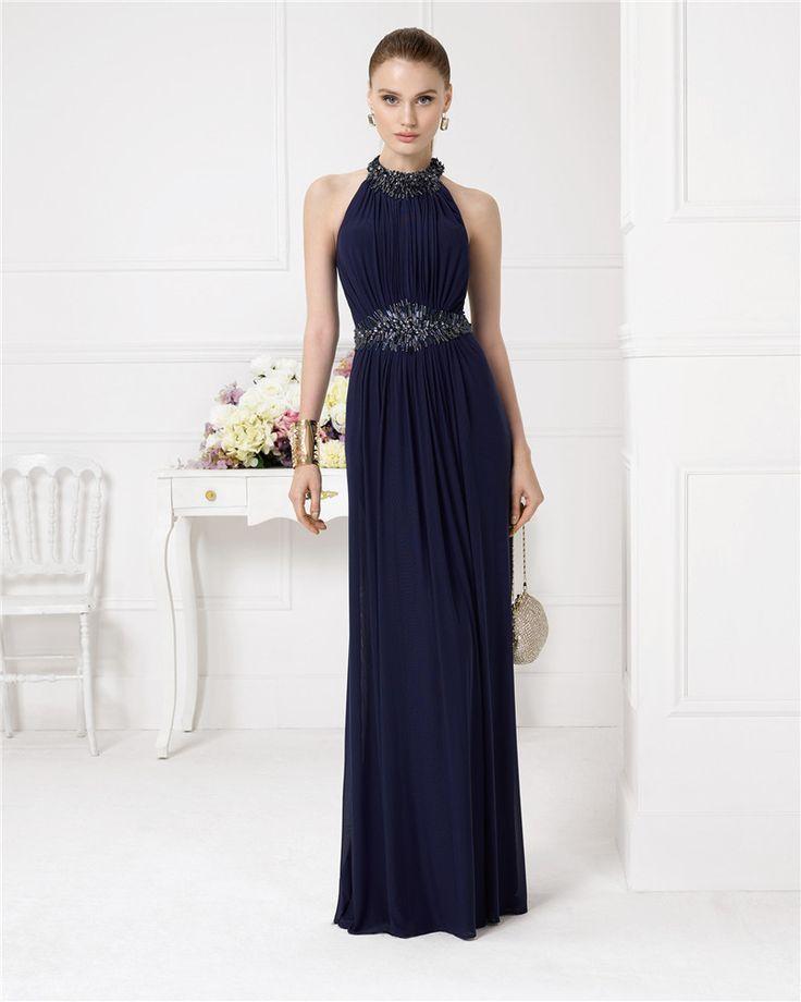 2016 Navy Blue Beads Long Evening Dress Halter Backless A Line Chiffon Floor-Length Prom Dress Vestidos De Fiesta Robe De Soiree
