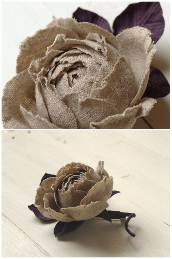 Burlap, hemp, jute - all great materials for flower making.