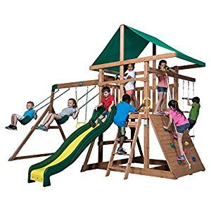 Amazon.com: Backyard Discovery Mount McKinley All Cedar Wood Swing Set: Toys & Games
