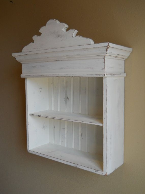 Distressed White Cabinet, Bathroom Cabinet, Kitchen Cabinet, Hanging Wall Cabinet, Shabby Chic Cabinet, Decorative Wall Cabinet via Etsy
