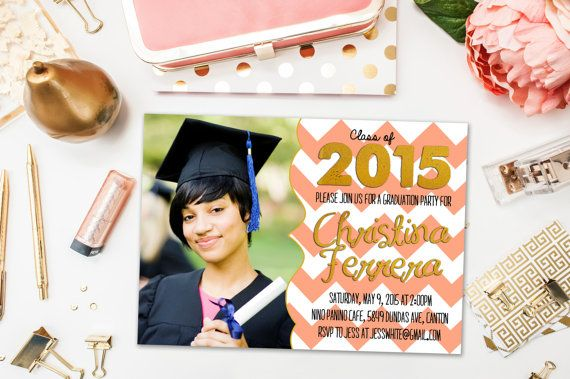 Graduation Party Invitations / Coral and White Chevron, Photo / Party Invite for Graduate / Class of 2015, 2016 / Digital or Printed Cards