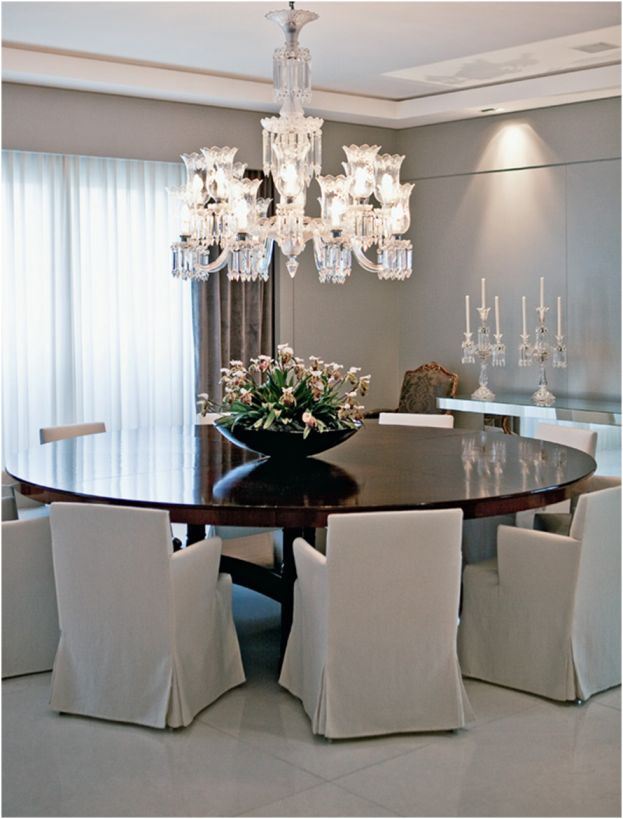 Dining Room   Round Table With Comfortable Dining Chairs And A Crystal  Chandelier.love The Round Table! Part 91