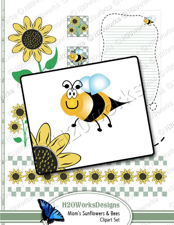 Sunflowers and Bees for Mom Clipart on 8.5x11 by H20worksDesigns