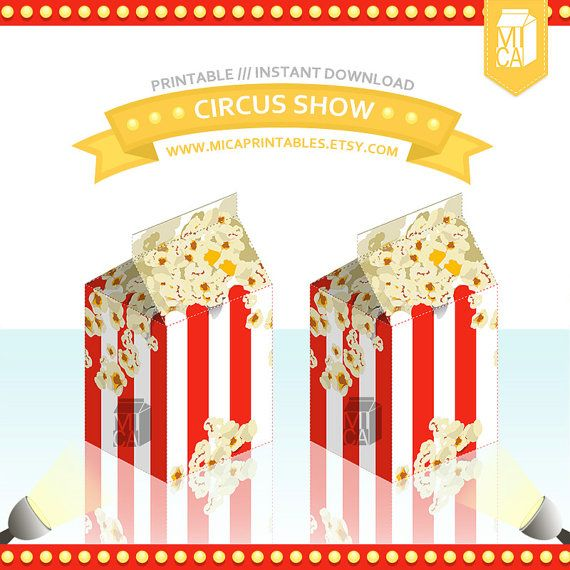 Popcorn Circus Show Printable Party Favor Box by MicaPrintables