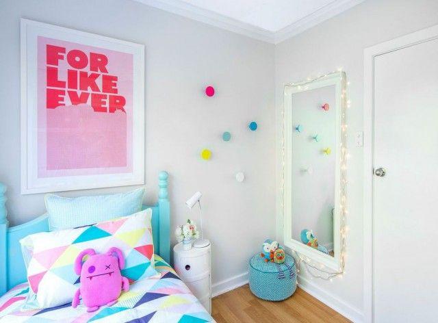 Dark family room tranformed into two fun kids bedrooms