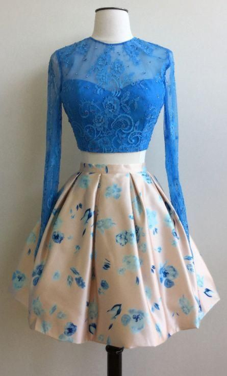 22ccb2ffee6 Stylish Two Piece Jewel Long Sleeves Short Floral Sky Blue Homecoming –  Dresses Modest