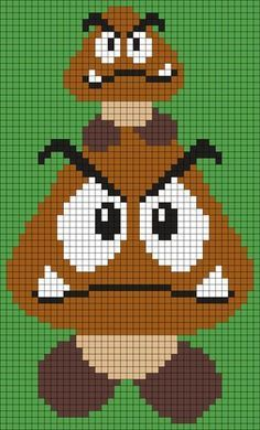 Goombas From Super Mario Bros. Perler Bead Pattern