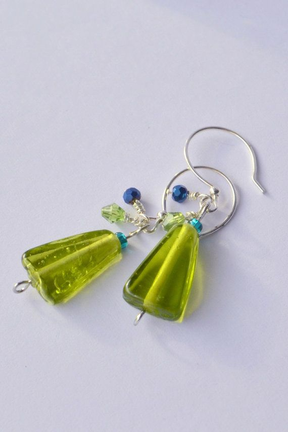 Green Drop Earrings - $12.00 Interesting colors