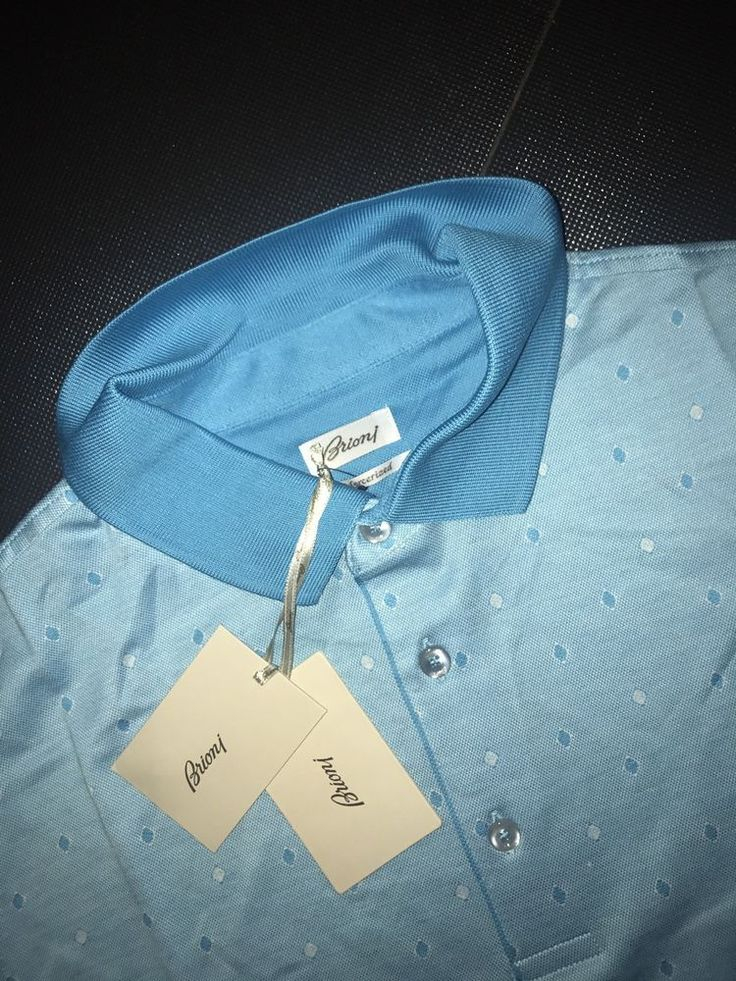 Summer Brioni Polo tshirt size M Color  White Blue #Brioni #BasicTee