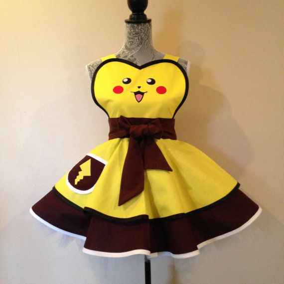 Pikachu's electric yellow with earth brown skirts by AriaApparel