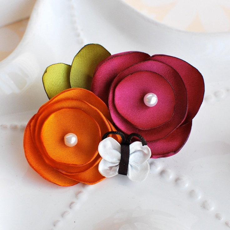 Fall Satin Flower Hair Clip in Mulberry Pink and Orange- Matches Gymboree Butterfly Girl. $8.50, via Etsy.