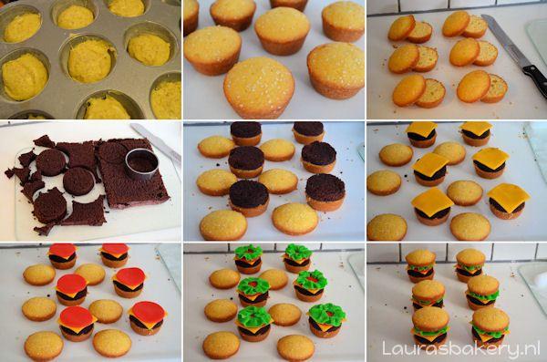 Hamburger cupcakes maken. Leuke traktatie