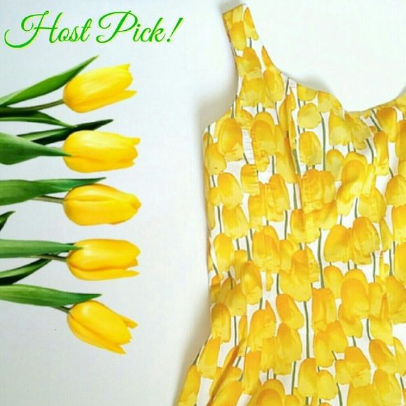 """HPNine West Yellow Tulips Scoop Neck Dress 6/3 3""""Style Obsessions"""" Host Pick by @mykidsfault  So summery fresh in a beautiful all over floral tulip print! Features a scoop neckline, piping in the bodice, A line silhouette w/a fit & flare style! Back zipper, hook closure. Lined bodice. LIKE NEW!   