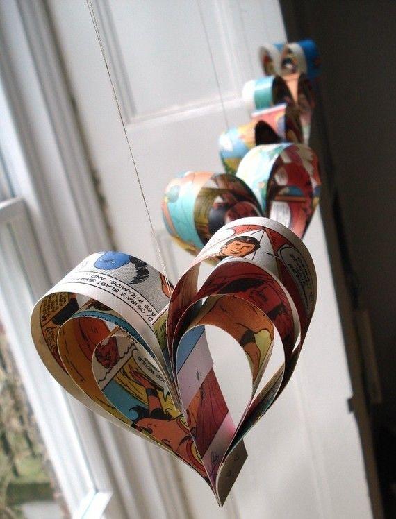 comic book heartsIdeas, Hanging Heart, Book Heart, Heart Ornament, Heart Garlands, Comics Book, Paper Hearts, Comic Books, Comics Strips