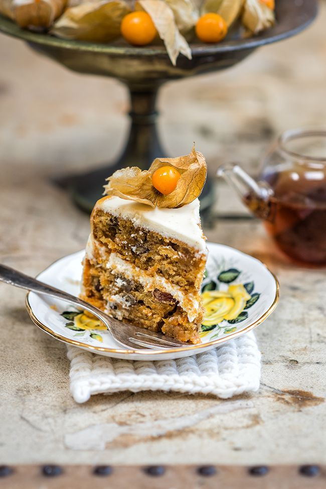 carrot cake recipe with chai infused raisins, rich mascarpone frosting ...