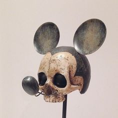 Quirky and creepy meets a childhood favourite. This Vintage Mickey Mouse Skull makes a great conversation piece. The skull is made of…