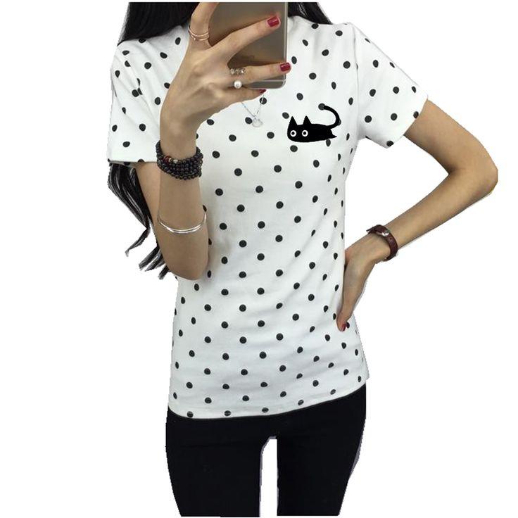 New Fashion Women's Summer T-Shirt Classic Dots Girls' Basic Bottoming Polka Dots Printed Short Sleeve Top