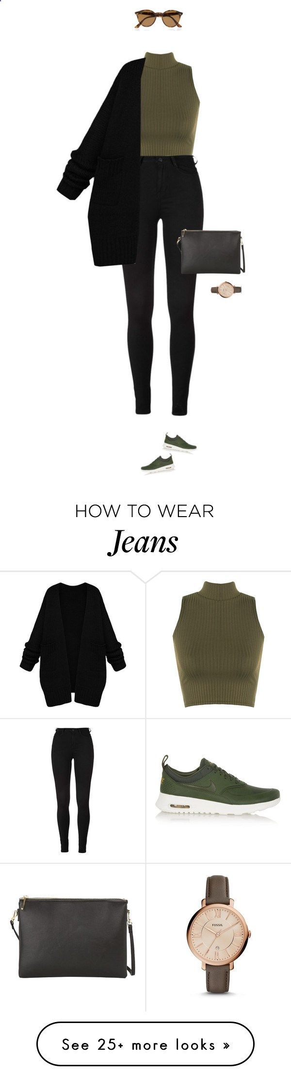 Casual at its best ! by azzra on Polyvore featuring WearAll, NIKE, Ray-Ban, MANGO, FOSSIL, womens clothing, women, female, woman and misses
