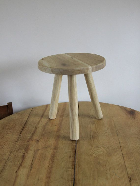 Small round stool or small low bedside table Wooden by ...