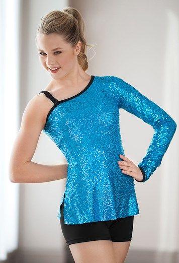 One Sleeve Sequin Tunic #dance #dancewear #danceteam #sequin #tunic