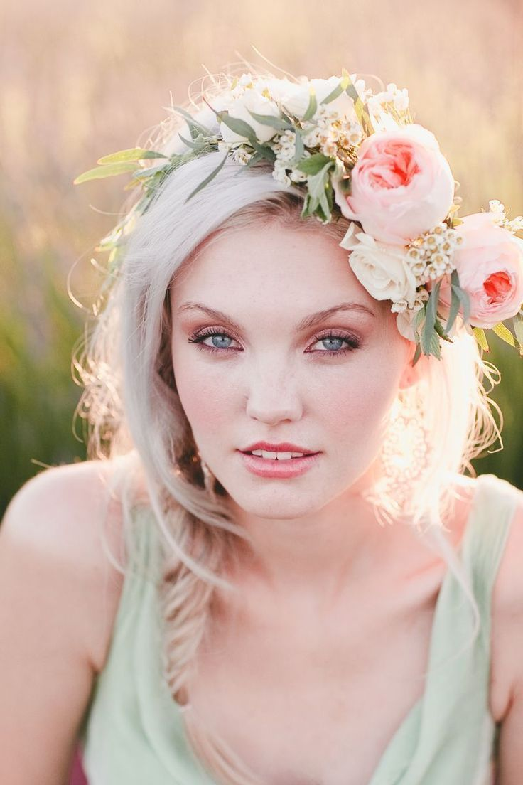Romantic floral wreath and bridal makeup  {Project Wedding styled shoot by Katelin Gallagher and onelove Photography}