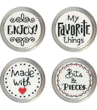 Favorite Label Jar Topper Counted Cross Stitch Kit-Set Of 4
