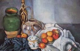 """O nome dessa obra é """"Natureza-morta"""" feita em 1890-1894 por Paul Cézanne. Ela é um dos gêneros menores, que representam objetos inanimados, flores,louças, frutas."""