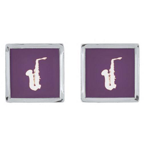 Saxophone cartoon silver finish cuff links