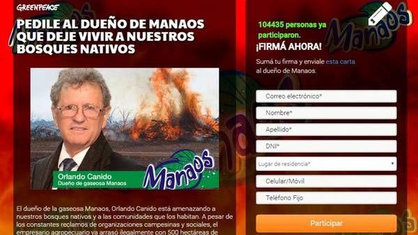 La página web en la que Greenpeace pide adhesiones contra el dueño de Manaos. Captura de pantalla.