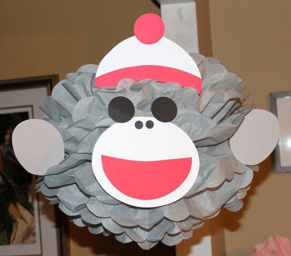 Sock Monkey monkey inspired pom pom kit baby shower first birthday party decoration