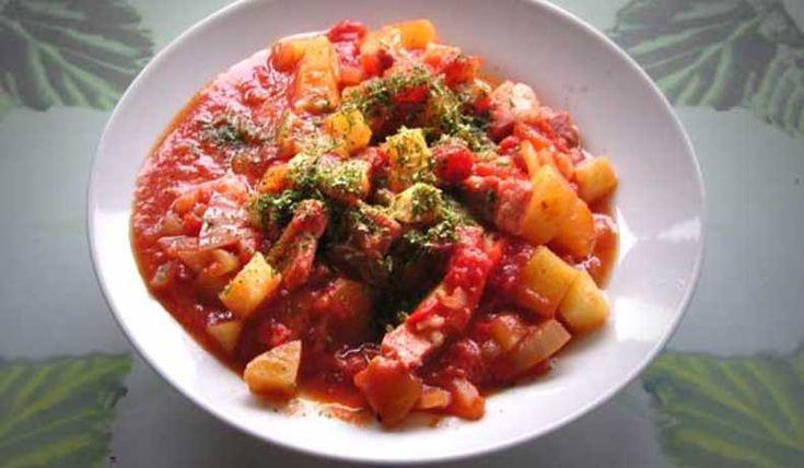 Gryta med rimmat fläsk potatis, kryddstark (Fick bli detta i s t fläsk med löksås)
