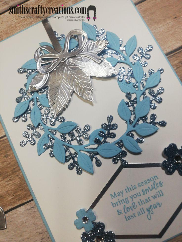 On Trend Blue Themed Christmas Card Arrange A Wreath