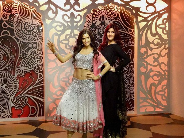 Bollywood actor Katrina Kaif with her wax model at Madame Tussauds in London.