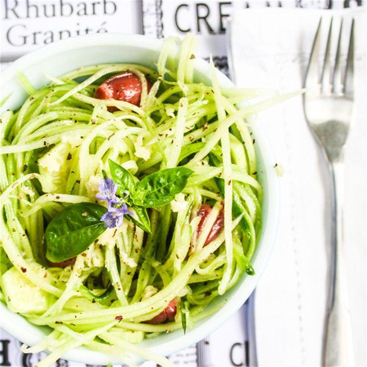 Spiralized Greek Salad by rebelskitchen - #KeepOnCooking #Appetizer #GlutenFree #Entree #Entrée  #Salad #Side #Vegan #Vegetable #Vegetables #Vegetarian