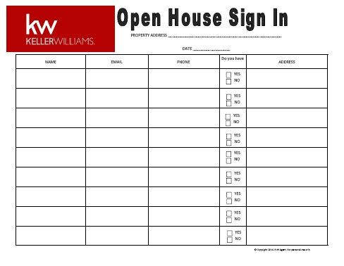 Open House Sign In Sheet Open House Pinterest Open house signs