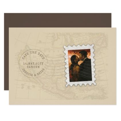 Postmark and Photo Stamp Travel Save the Date Card - wedding invitations diy cyo special idea personalize card