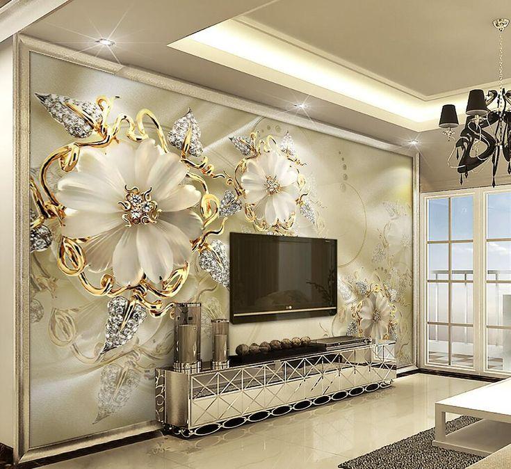 Large 3d European Pearl And Rose Jewelry Tv Background: 3d Duvar Kağıdı, Oturma