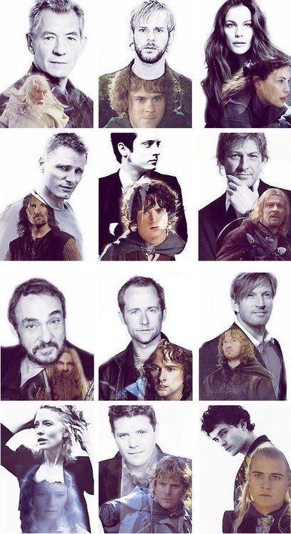 Lord of the Rings cast. Top left to bottom right -- Sir Ian McKellan, (Gandalf) Dominic Monaghan, (Merry) Liv Tyler, (Arwen) Viggo Mortensen, (Aragorn) Elijah Wood, (Frodo) John Rhys-Davies, (Gimli) Billy Boyd, (Pippin) Sean Bean, (Boromir) Cate Blanchett, (Galadriel) Sean Astin (Sam) and Orlando Bloom. (Legolas)