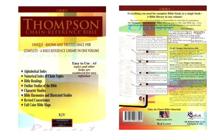 Thompson Chain Reference Bible Review Easy to learn and use, the Thompson Chain-Reference system contains over 100,000 topical references in over 8,000 chain topics, helping to make in-depth topical study and lesson preparation easier and more efficient.                                          ...