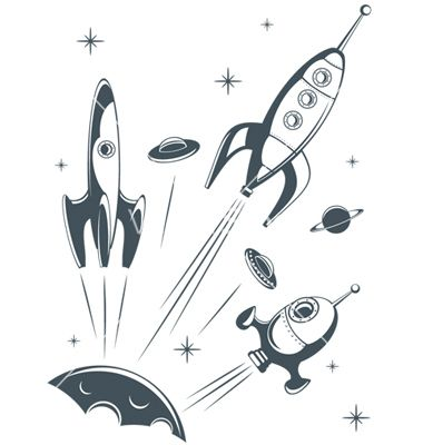 Retro spaceship vector 400729 - by ychty on VectorStock®