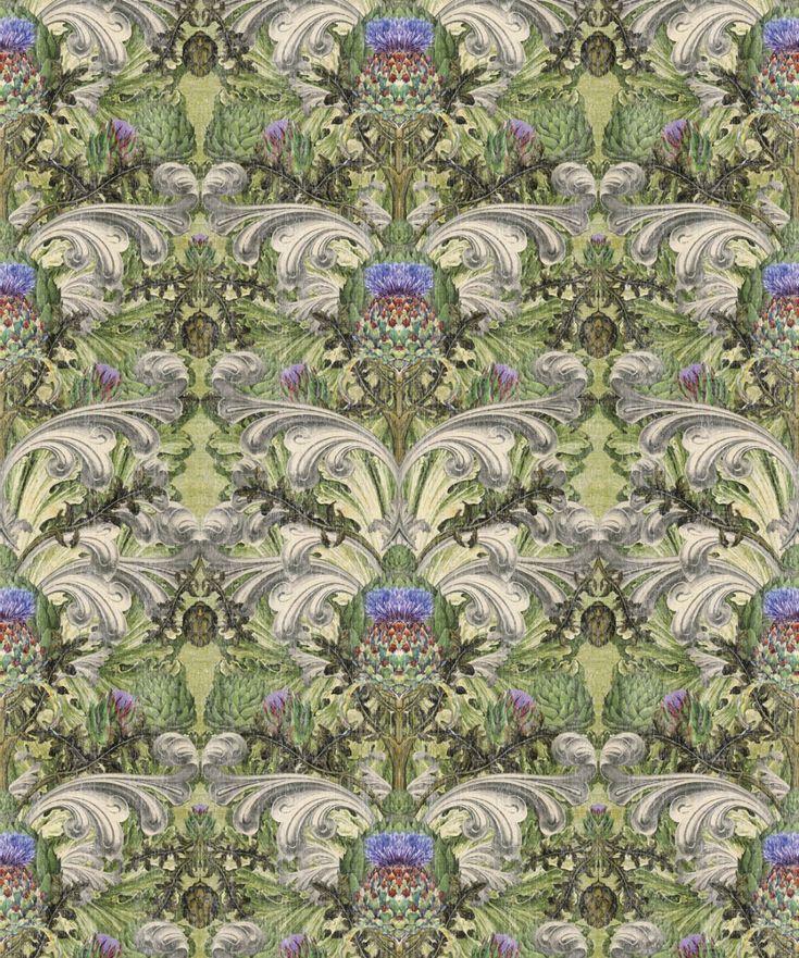 Thistle Floral Wallpaper • Baroque Design • Milton & King