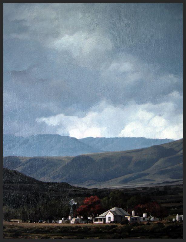 """Swartberg Farm"" - Karoo Landscape by South African artist, Shelagh Price. http://www.shelaghprice.com"